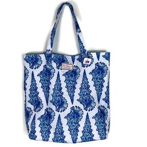 Lilly Pulitzer Blue White Shells Canvas Tote Bag